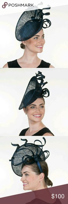 Navy Blue High Cup Sinamay Headband Fascinator Brand new hat from manufacturer.  A beautiful headband fascinator for all your elegant occasions. Wear to Church, Weddings, Tea Parties or your favorite Derby  Navy High Cup Modern Sinamay Headband Fascinator Material: Sinamay Fabric Size: 11 x 11 inch P13-102053-NV Accessories Hats
