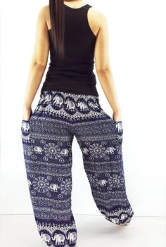 ST98 Thai Women Clothing Comfy Rayon Bohemian Trousers Hippie Baggy Genie Boho Pants Elephant Navy Blue Maxi Pants, Harem Trousers, Trousers Women, Gypsy Pants, Boho Pants, Multi Coloured Trousers, Genie Pants, Aladdin Pants, Yoga