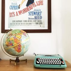 #savouringjanuary2017 Day 19: Old Im quite partial to old stuff and here are two of my favourites  my dads globe and a typewriter I bought years ago mainly because of the colour. And a not very old movie poster of a brilliant old movie!