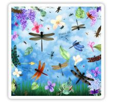 Sticker for scrapbooking with 'There Be Dragons' whimsical dragonfly art by Nola Lee Kelsey