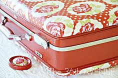 vintage suitcase makeover-- I have a red suitcase almost just like this!