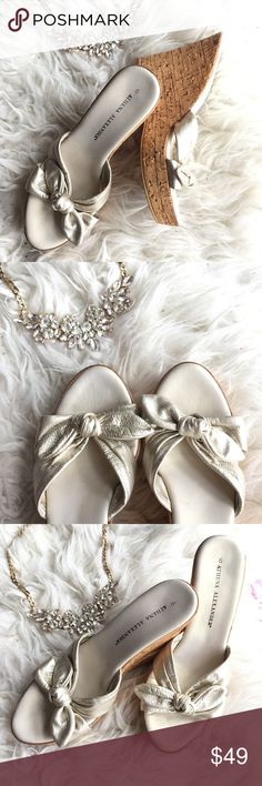 Wedge heel slippers I got these in Nordstrom and only worn 2 times for special occasions. They are beautiful opalescent pearl color and very comfortable with 1.5inch platforms. In an excellent condition as shown in the pics. Athena Alexander Shoes Platforms