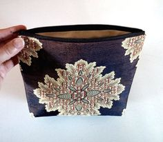 Clutch bag  brown / baroque style in fabric.