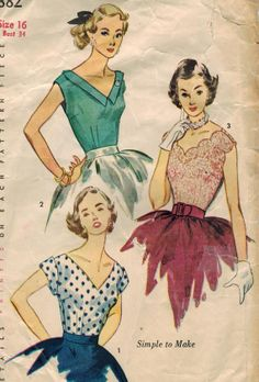 1950s Simplicity 3882 Vintage Sewing Pattern Misses Blouses Size 14 Bust 32, Size 16 Bust 34