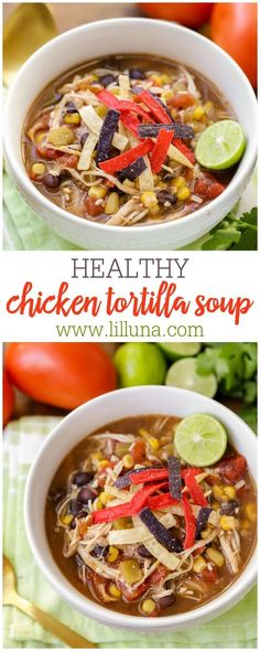Nothing like a warm bowl of tortilla soup on a chilly winter day! This lighter version of chicken tortilla soup is healthy, flavorful, and packed with delicious ingredients. healthy Healthy Chicken Tortilla Soup {Under 250 Calories! Easy Soup Recipes, Dinner Recipes, Cooking Recipes, Healthy Crockpot Soup Recipes, Dinner Soups, Heathy Soup, Xmas Recipes, Crockpot Meals, Steak Recipes