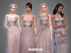 Wedding Day - collection - The Sims 4 Catalog Sims 4 Wedding Dress, Wedding Dress Styles, Maxis, Sims 4 Clothing, Female Clothing, Clothing Sets, Sims 4 Dresses, Sims 4 Cc Skin, Sims 4 Mm