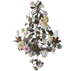 Italian Tole Porcelain Flowers Chandelier with Tassel, circa 1870   From a unique collection of antique and modern chandeliers and pendants  at https://www.1stdibs.com/furniture/lighting/chandeliers-pendant-lights/