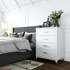 Westerleigh 4 Drawer Dresser - CosmoLiving By Cosmopolitan : Target Bedroom Furniture Stores, Bedroom Dressers, Furniture Deals, Affordable Furniture, Bedroom Sets, Living Room Furniture, White Bedroom Dresser, Cheap Furniture, Furniture Makeover