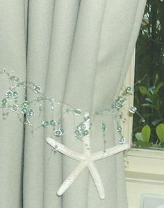 Beach Decor - 2 Curtain Tiebacks with Starfish - Beach and Coastal Decor - Aqua Turquoise