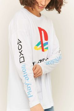 Urban Renewal Vintage Re-Made Playstation White Long Sleeve T-shirt