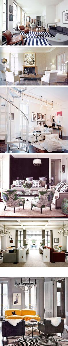 I love the crisp white against the dark floors in the middle room!