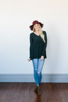 Ribbed Ruffle Blouse- Charcoal