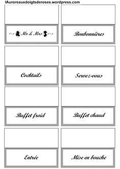 Des silhouettes à imprimer sur papier étiquette et à coller sur vos bonbonnières, vases, plats, etc. ainsi que toutes une série de présentoirs pour buffet à thème, de remerciement..