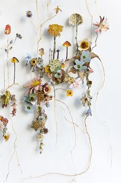 Anne Ten Donkelaar: Flower Constructions Dark Silence In Suburbia Rock Flowers, Dried Flowers, Paper Flowers, Flower Collage, Flower Art, Collage Artists, Leaf Art, Flower Pictures, Beauty Art