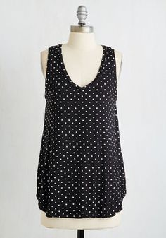 Endless Possibilities Top in Black Dots. Every fashionista needs pieces in her wardrobe that can be infinitely styled, and this ultra-soft, black-and-white dotted tunic promises unlimited options. #black #modcloth