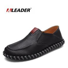 32.99$  Watch here - http://ali9zu.shopchina.info/1/go.php?t=32751583344 - Aleader New 2016 Leather Handmade Loafers Men Fashion Shoes Casual Soft Driving Shoes Men Moccasins Slip On Flat Male Sapatos  #buymethat