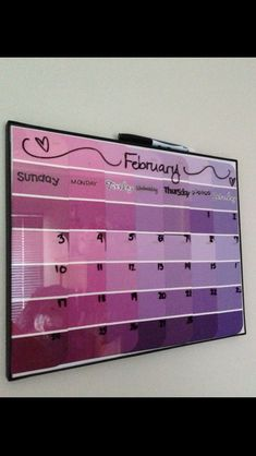 Paint sample dry erase calendar  Guess whats going in my dorm room?!