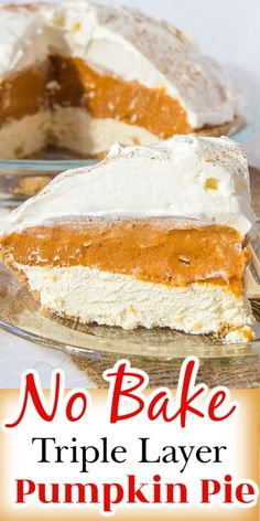 This No Bake Pumpkin pie has delicious layers of pumpkin pie filling, cream cheese and whipped cream. This super popular Thanksgiving dessert is easy to make! Dump Cake Recipes, Best Dessert Recipes, Easy Desserts, Delicious Desserts, Yummy Food, Sweets Recipes, Breakfast Recipes, No Bake Pumpkin Pie, Pumpkin Pie Recipes
