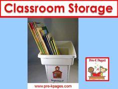Storage ideas for your preschool, pre-k, or kindergarten classroom.