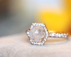 Moonstone halo rose gold ring, hexagon halo ring, unique engagement ring 14K rose gold halo ring