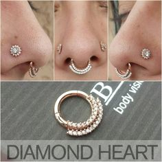 Gina upgraded her jewelry to BVLA rose gold sexiness. Diamond Heart Studios Flemington NJ Diamondheartpiercing.com Facebook.com / diamondheartpiercing @diamondheartpiercing Oh my god I would die happy with that septum ring oooh shit Omggggg