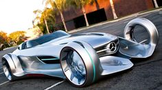 Mercedes Benz Silver Lightning this has got to be a concept car because I'm not quite sure how you could do a burn out with what looks to be ... I'm not even sure what the tires are made of