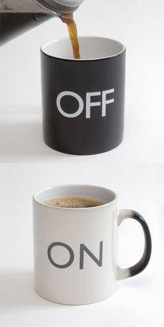 On Off Mug by The Cottage Industry // tell your colleagues it's on like a cup of of hot coffee! #productdesign