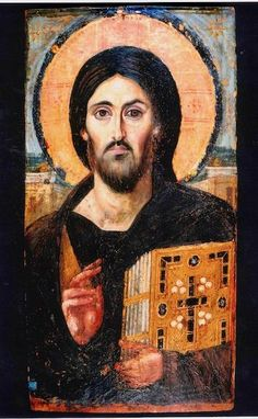Christ Pantocrator, Monastery of St. Catherine of Sinai, Greek Orthodox handmade Icon on Wood. Christ Pantocrator,Monastery of St. Catherine of Sinai. Christ Pantocrator, Byzantine Icons, Byzantine Art, Early Christian, Christian Art, Religious Icons, Religious Art, Saint Catherine's Monastery, Jesus E Maria