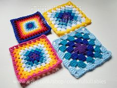 Ravelry: Sc, hdc, dc and tr Granny Squares. 4 charts of the collection of Basic Crochet Shapes pattern by Sara Palacios