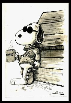 Snoopy loves his coffee!
