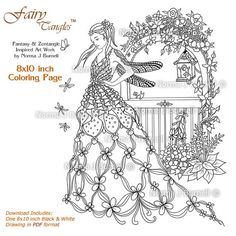 Fairies Gate - Dragonfly Garden Fairy - Fairy Tangles Adult Coloring Sheet colouring book Page by Norma J Burnell Fairies - Colouring books