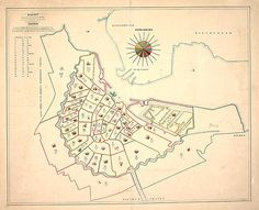 This 1866 map shows the distribution of the victims of that year's cholera epidemic over 50 areas of Amsterdam. The circle diagrams indicate the number of mortalities per week in every area, from 1 June 1866 until 18 October 1866. The number of deaths was updated weekly in red ink. The total population in each area at the end of May 1866 is also noted, and below this figure the percentage of mortalities.