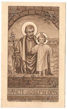 Antique Vintage French Holy Prayer Card Saint Joseph & Baby Jesus