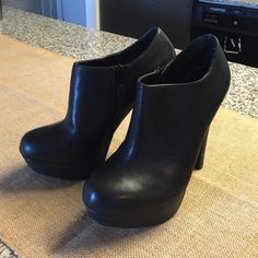 Steve Madden Black Booties These have barely been worn, maybe a total of four times around the house. They are too high for me! Steve Madden Shoes Ankle Boots & Booties