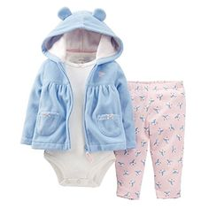 7f1b7f55cf908 Carter s Baby Girls 3-Piece Animal Microfleece Hooded Cardigan Set (18  Months