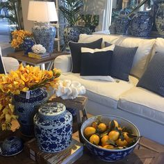 Blue and white decor at our Bundall store.