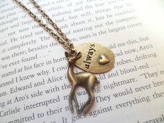 """Harry Potter """"Always"""" Snape Bronze Deer Doe Necklace."""