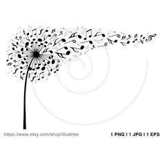 Music dandelion with flying musical notes, music flower, digital clip... ($5) ❤ liked on Polyvore featuring home, home decor, wall art, sheet music wall art, blossom wall art, flower stem, flower wall art and printable posters