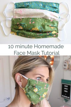 Mask Pattern Discover Homemade Face Mask with Elastic - 10 minutes Learn how to make this homemade face mask in this simple sewing tutorial. Only takes 10 minutes for each mask and is beginner friendly. Easy Face Masks, Homemade Face Masks, Diy Face Mask, Sewing Hacks, Sewing Tutorials, Sewing Crafts, Sewing Patterns, Sewing Tips, Diy Mask