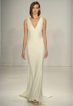 V-neck Sheath Wedding Dress | Amsale Fall 2015 Wedding Dresses | Maria Valentino/MCV Photo | Blog.theknot.com