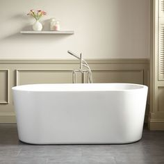 """$1,250  53"""" Dimensions: 53-1/4"""" L x 25-1/4"""" W (front to back) x 20-1/2"""" H (± 1/2""""). Water capacity without/with overflow: 40/32 gallons. Weight uncrated/crated: 60/170 lbs. Minos Acrylic Freestanding Tub"""