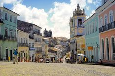 Salvador, o Pelourinho, com arquitetura colonial