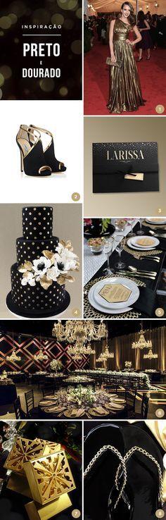 Reunimos 8 ideias para uma festa de 15 anos em preto e dourado, cores perfeitas para um conceito chic e glamouroso! Vem ver as inspirações!