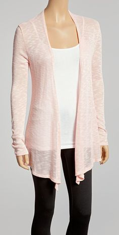 Pink Burnout Open Cardigan | simple, can go with anything for any occasion