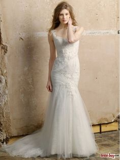 Do you like this? Lace and tulle, when this two type get together, perfect! http://www.bridal-buy.com/new-elegant-mermaid-lace-appliqued-straps-court-train-tulle-affordable-wedding-dresses-wd20749_p3516.html