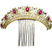 Georgian Tiara Hair Comb Gilt Filigree Metal with Paste Stones and Crystals