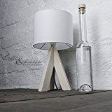 Bauhaus Stil Tischleuchte mit Holzfuß und weißem Stoffschirm E14 mit Kabelschalter Nachttischlampe Nachtleuchte für Schlafzimmer Wohnzimmer Leselicht