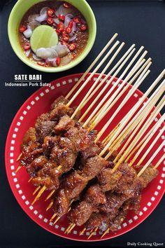 Sate Babi - Indonesian Pork Satay Recipe on Yummly. Pork Recipes, Cooking Recipes, Healthy Recipes, Healthy Food, Cooking Kale, Cooking Light, Asian Recipes, Mexican Food Recipes, Pork Satay