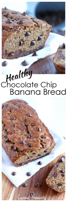 Healthy Chocolate Chip Banana Bread - Less sugar, less butter, still incredibly delicious!