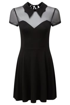 Vampyra Night Creature Skater Dress [B] | KILLSTAR  Waitin' for the supermoon, the 'Night Creature' is a seductively flattering skater dress with light-weight mesh yoke detailing and black custom-shape collar. Open detailed back with black-ribbon tie.